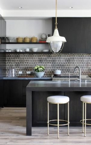 black and grey kitchen