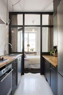 tiny black kitchen