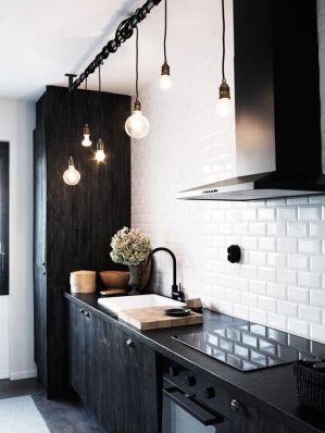 wooden black kitchen