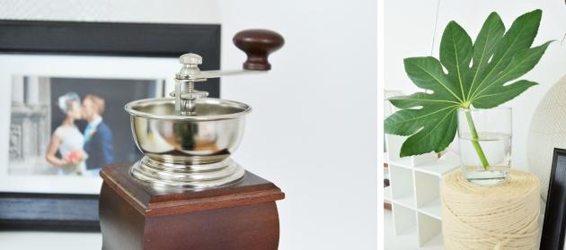 кофе мельница и лист